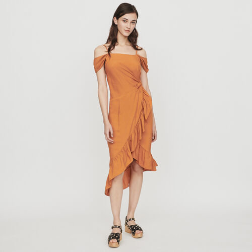 Midi wrap dress with bare shoulders : Dresses color Terracota
