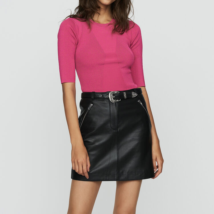 Fine knit sweater with short sleeves : Knitwear color Fuschia