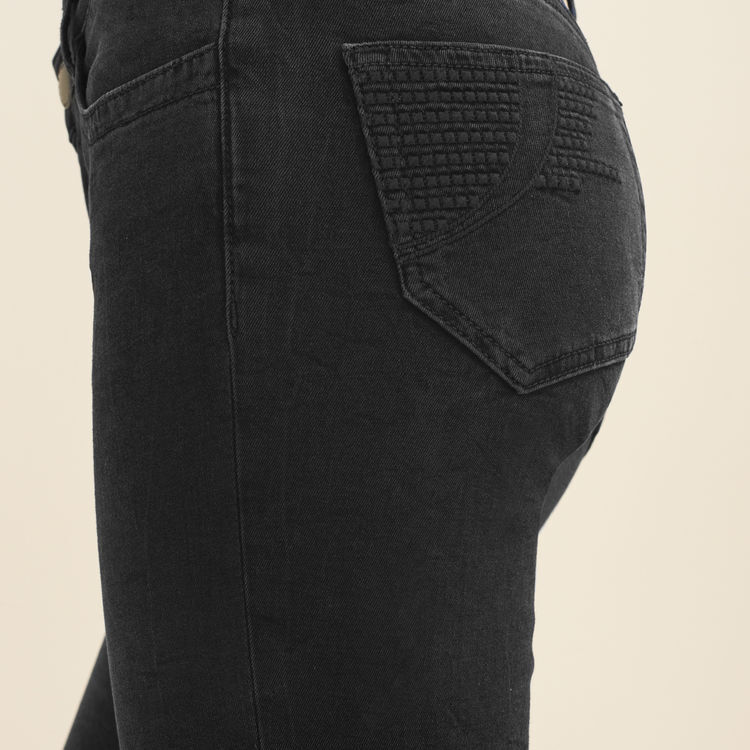 Stretch cotton skinny jeans : Trousers color Anthracite