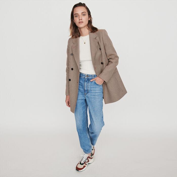 Plaid jacket-like coat : Campaign FW19 color Camel