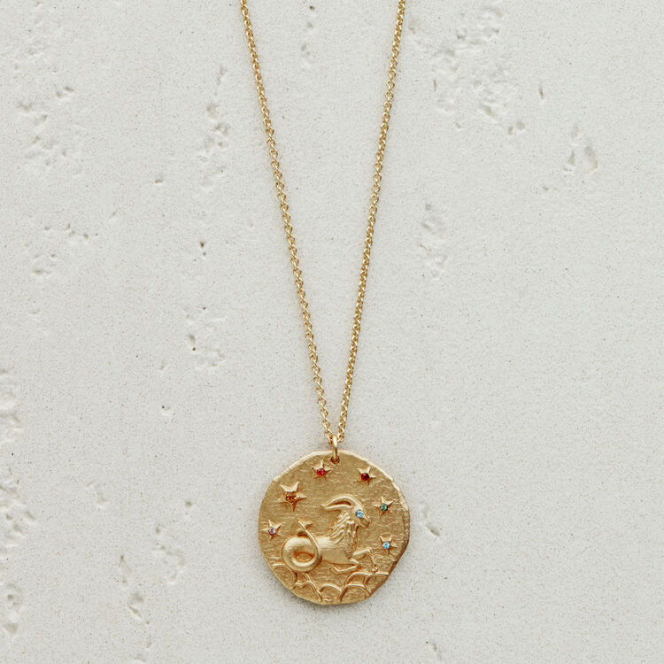 Capricorn zodiac sign necklace : Medallions color GOLD