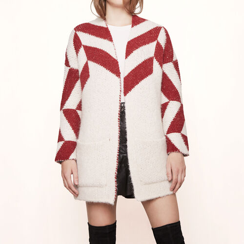 Oversize jacquard knit cardigan : Sweaters & Cardigans color Red
