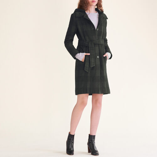 Long checked coat : Categories color Jacquard