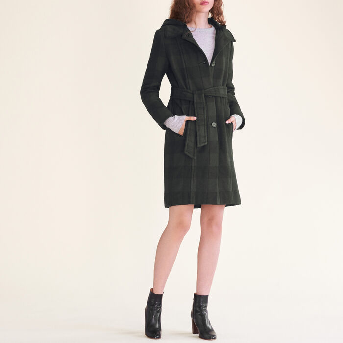 Long checked coat : Coats color Jacquard