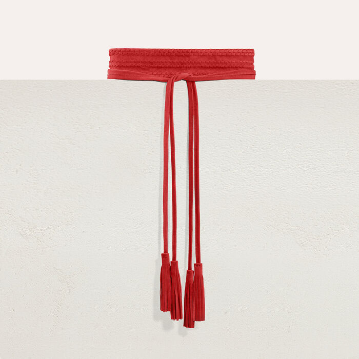 Wide suede belt : Belts color Red