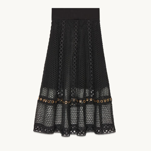 Long embroidered knit skirt - null - MAJE