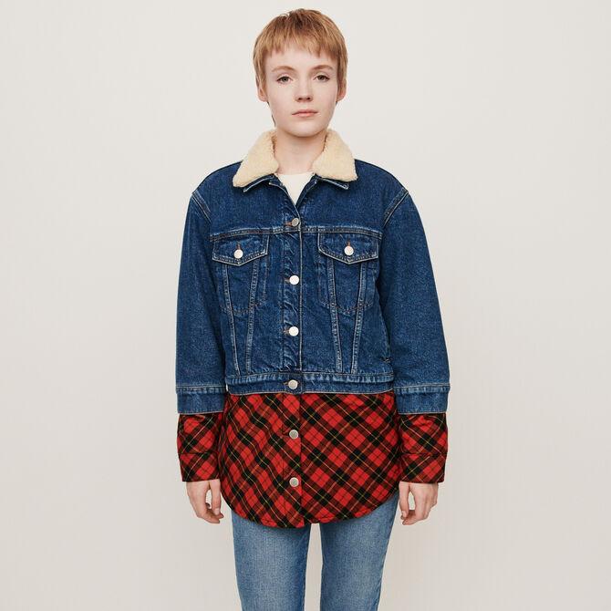 Plaid trompe-l'oeil jean jacket - staff private sale 20 - MAJE