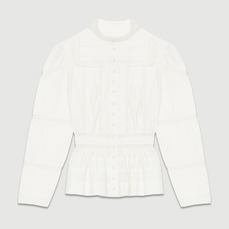 Embroidered poplin blouse : Shirts color White