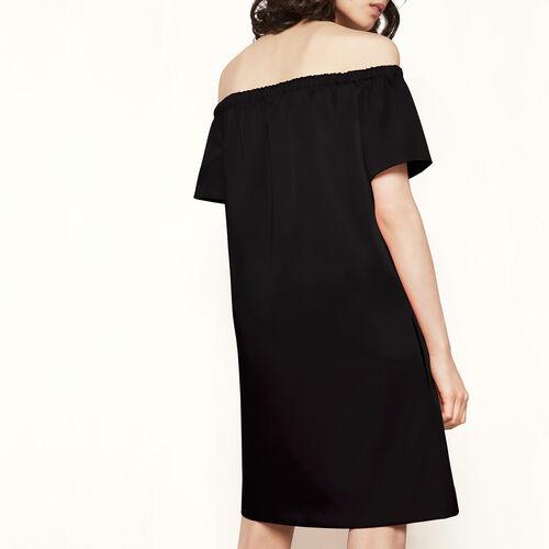 Satin off-the-shoulder dress : Dresses color Black 210