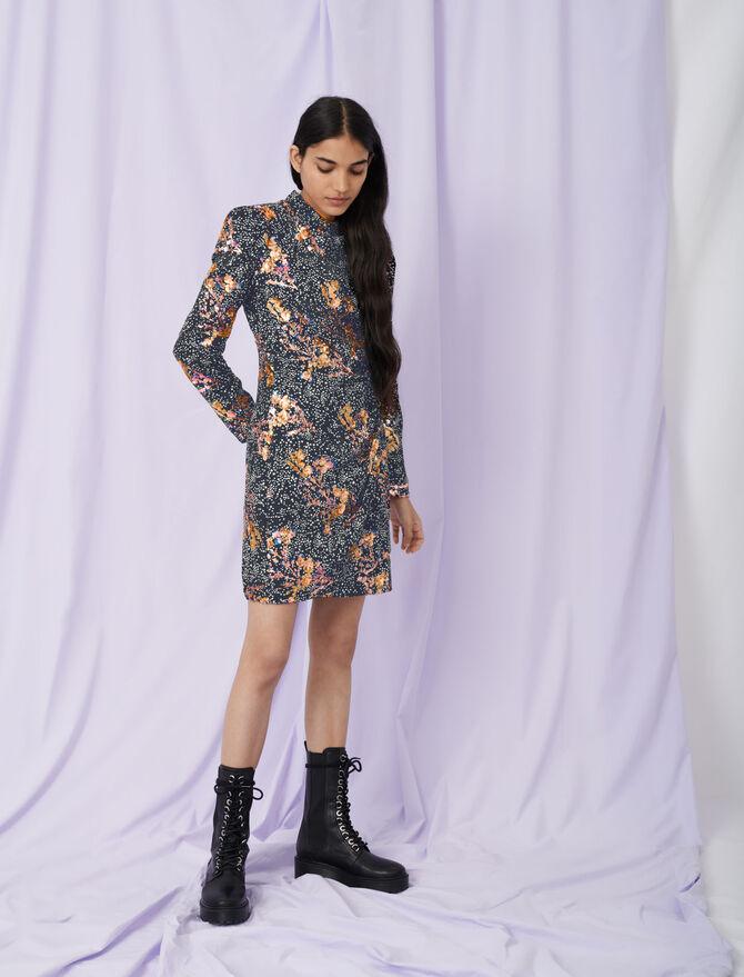 Draped dress in printed crêpe - Eco-friendly - MAJE