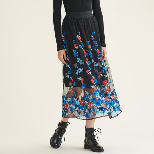 Long skirt with floral embroidery : Skirts & Shorts color Black 210