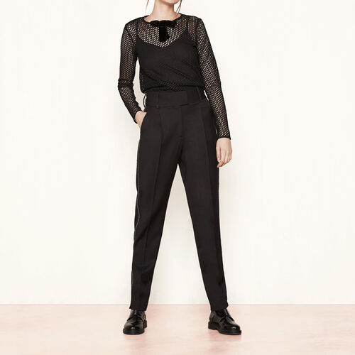 Wide trousers with zip detailing : Trousers & Jeans color Black 210