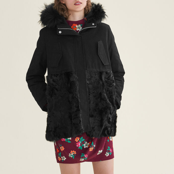 Parka in cotton and curly sheepskin -  - MAJE