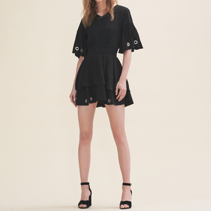 Flowing dress with eyelets : Dresses color Black 210