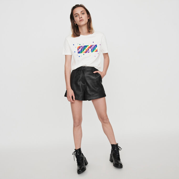 Cuffed shorts with topstitching : Skirts & Shorts color Black
