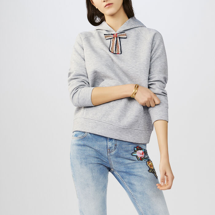 Hooded sweatshirt with removable bow : T-Shirts color Grey