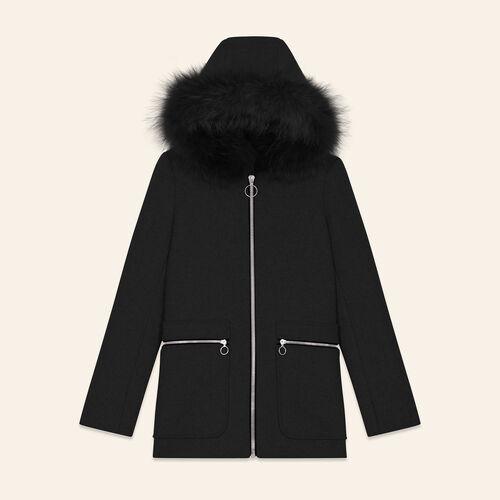 Coat with decorative zips : Coats color Black 210