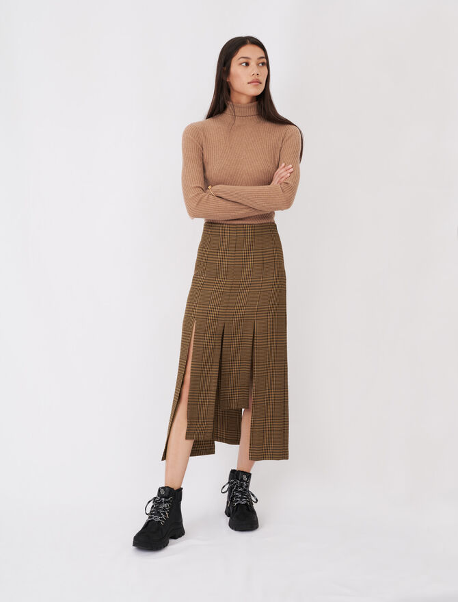 Asymmetric skirt with flaps and checks - Skirts & Shorts - MAJE