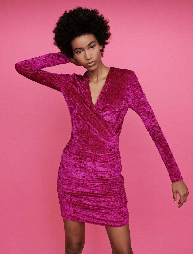 Crushed velvet draped dress - Best Sellers - MAJE