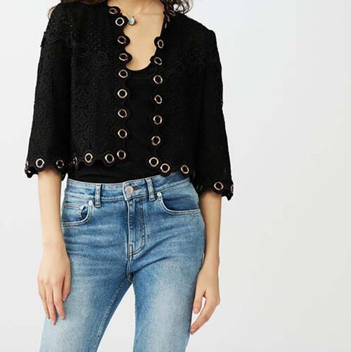 Lace jacket with eyelets : Knitwear color Black 210