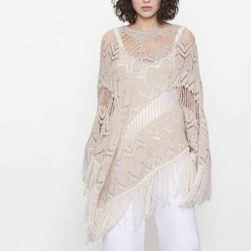 Openwork knit poncho : Sweaters & Cardigans color Beige