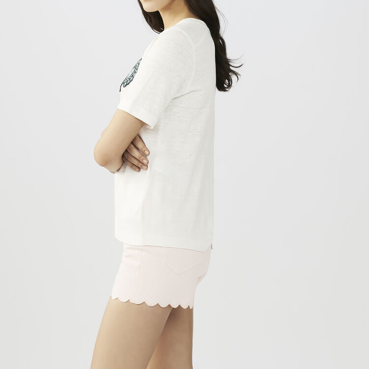 Embroidered t-shirt : T-Shirts color ECRU