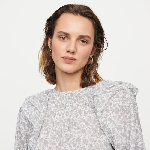 Floral-print ruffled top : Tops & Shirts color Grey