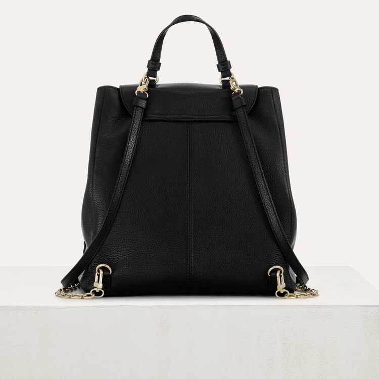 M backpack in leather with chain : M Back color Black 210