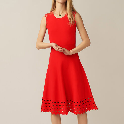 Openwork knit dress : Dresses color ROUGE