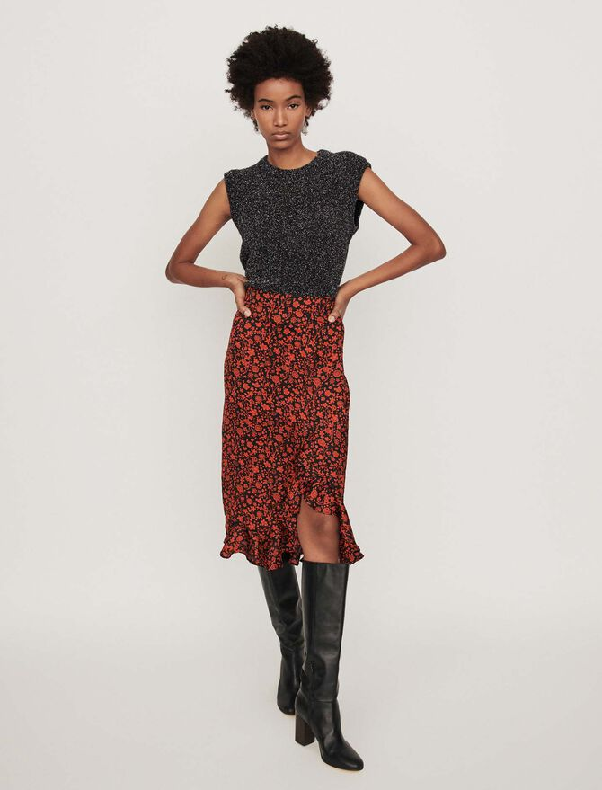 Printed-satin skirt -  - MAJE