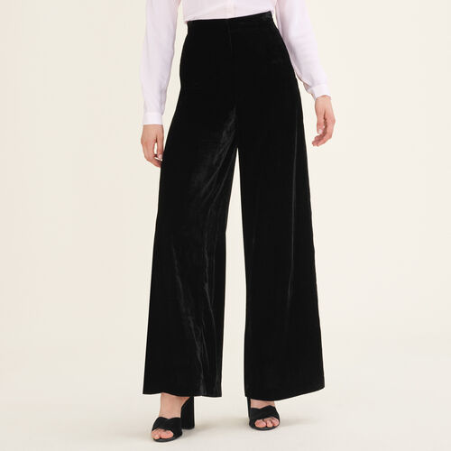 Wide-leg velvet trousers : Trousers color Black 210