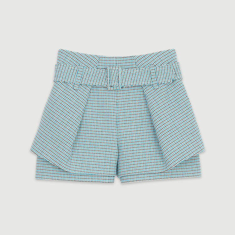 Tweed-style shorts : Skirts & Shorts color Blue