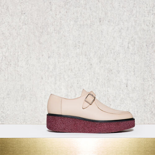 Lace up creeper shoes : Accessories color Beige