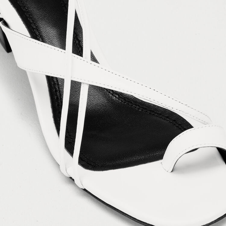 Leather sandals with tie-up ankle lace : Slipper color White