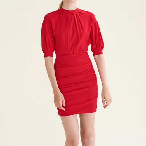 Draped dual-material dress : Dresses color Red