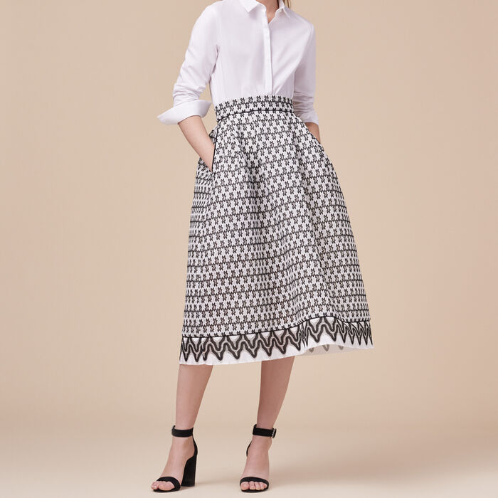Lace midi skirt : Skirts & Shorts color Two-Tone