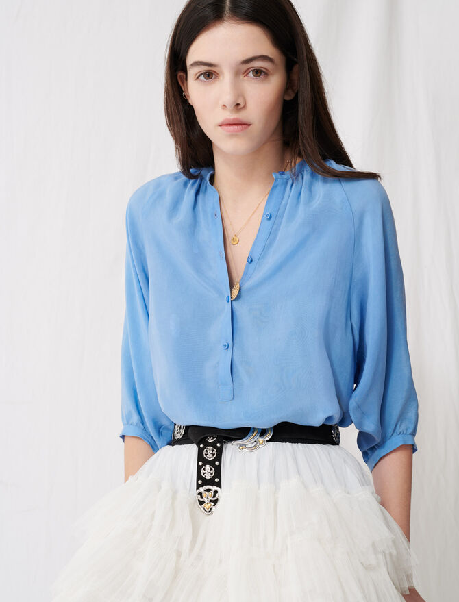 Buttoned blouse with shirring -  - MAJE