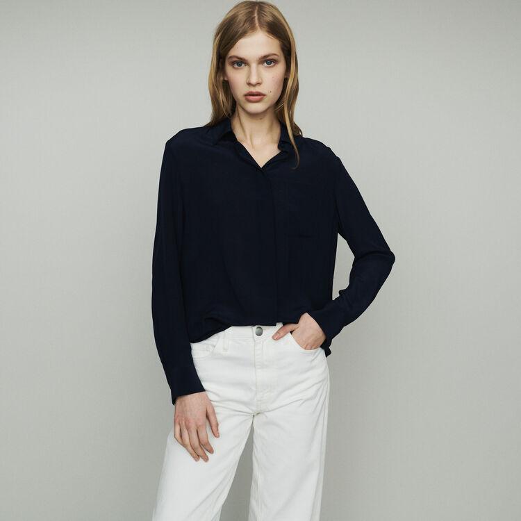 Silk shirt : Tops & Shirts color Navy