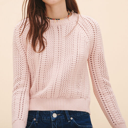 Openwork knit jumper : Sweaters & Cardigans color Nude