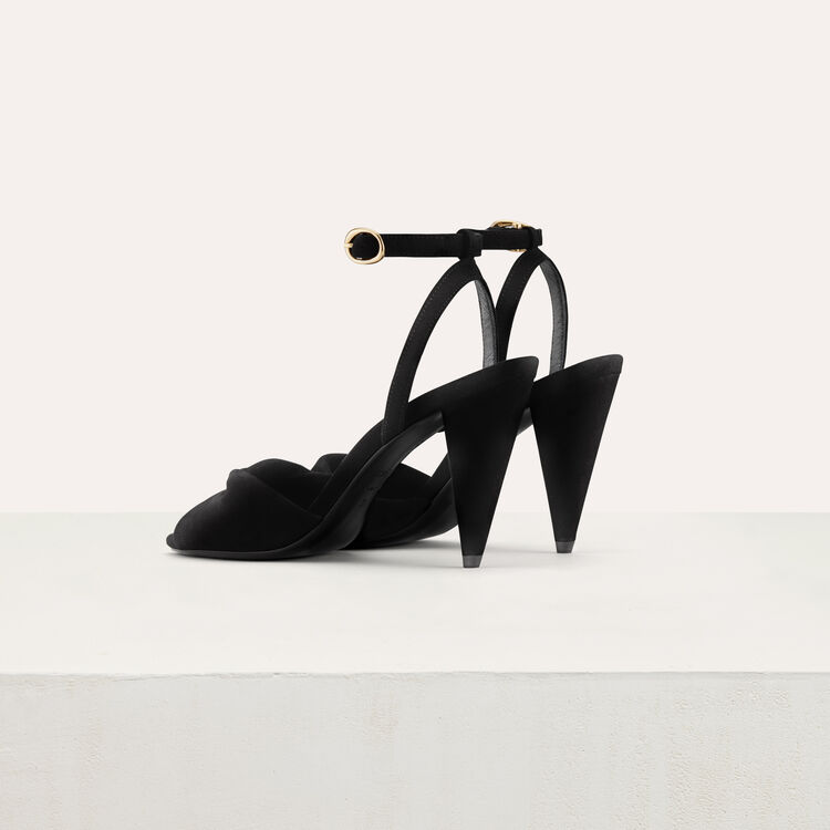 Leather high heals sandals : Shoes color Black 210