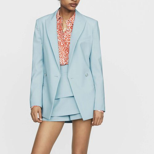 Long wool-blend blazer : Blazers color Blue Sky