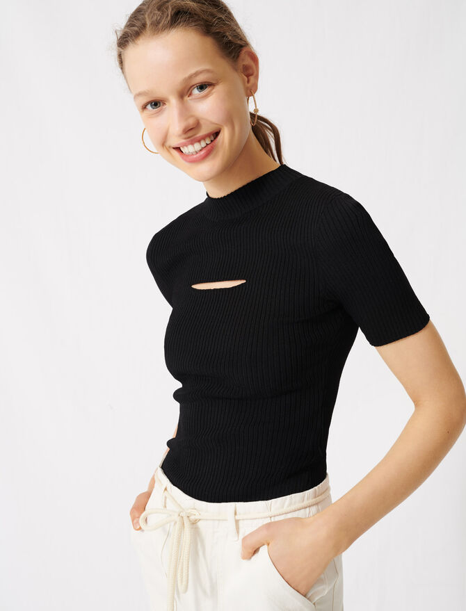 Black jumper with open neckline - Pullovers & Cardigans - MAJE