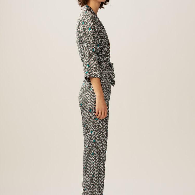 Printed satin jumpsuit : Jumpsuits color PRINTED