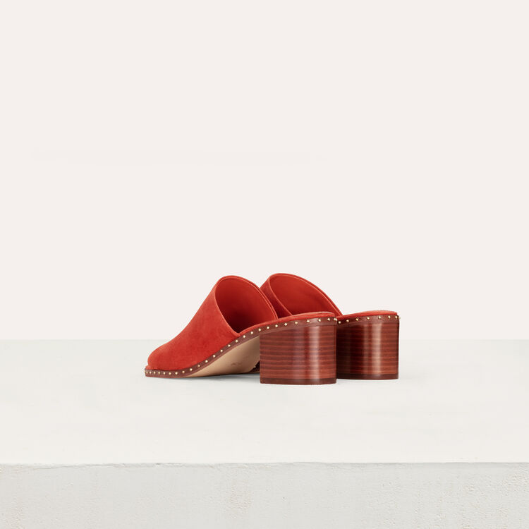 Heeled mules in suede : Slipper color Terracota