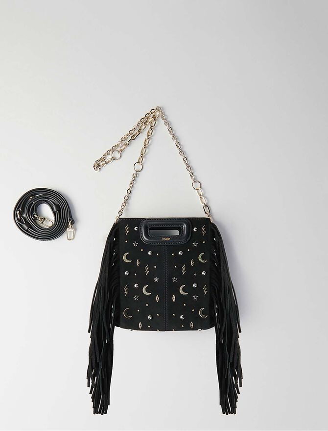 Mini studded suede M bag with chain - M Mini - MAJE