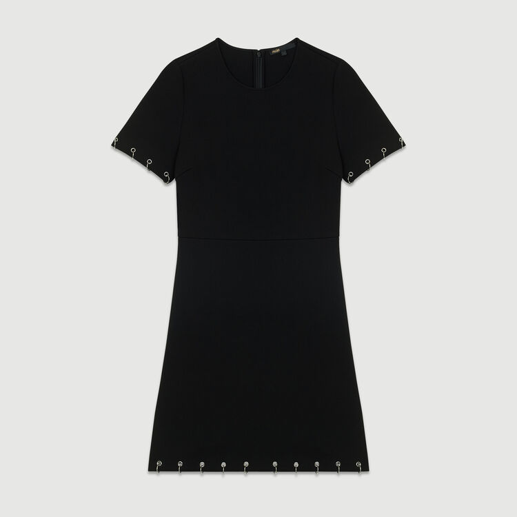 Crepe dress with eyelets and rings : New Collection color Black 210