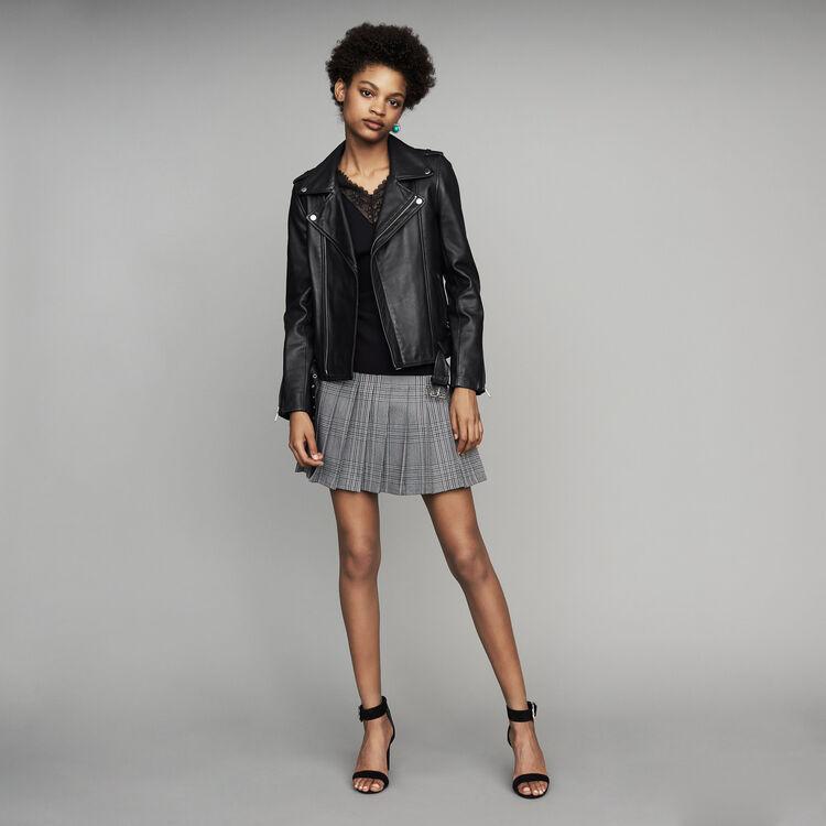 Belted biker jacket in leather : New Collection color Black 210