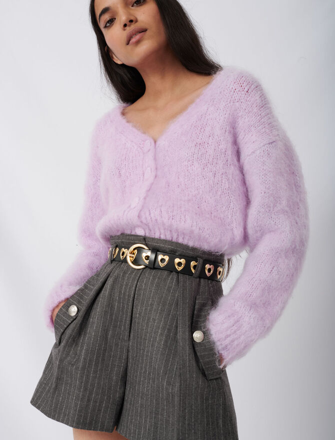 Mohair cardigan with covered buttons - Pullovers & Cardigans - MAJE