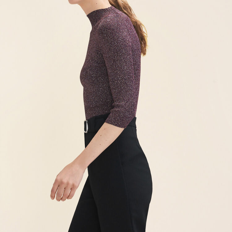 Lurex knit fitted jumper : Sweaters & Cardigans color BORDEAUX