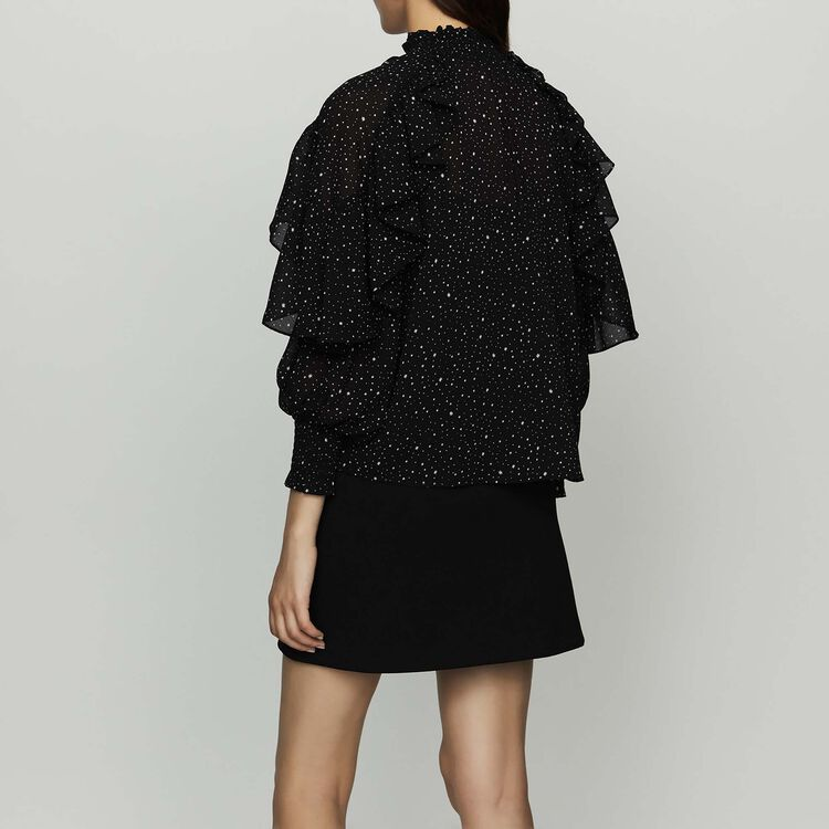 Ruffle shirt with polka : Shirts color BLACK